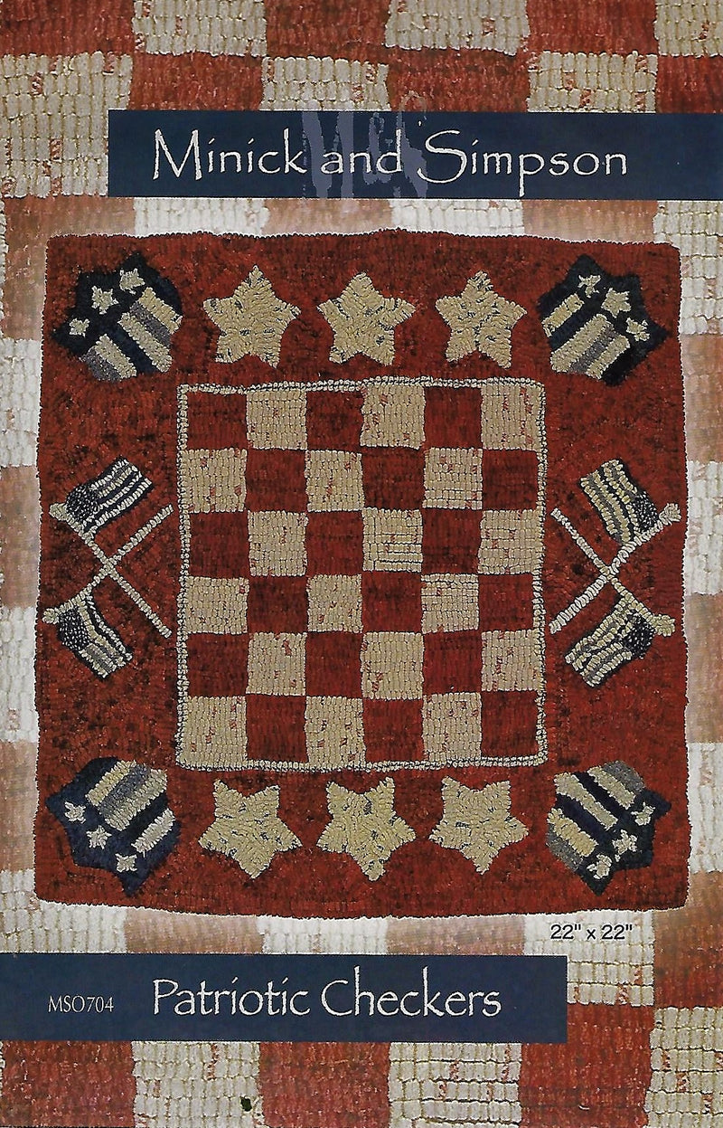 Patriotic Checkers Wool Rug Hooking Pattern MSO704 - Fabrics N Quilts