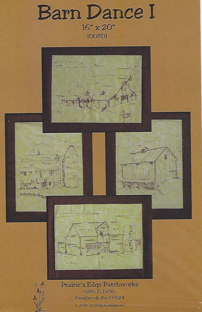 Barn Dance I - 4 barn hand embroidery designs, Prairie's Edge Patchworks - Fabrics N Quilts