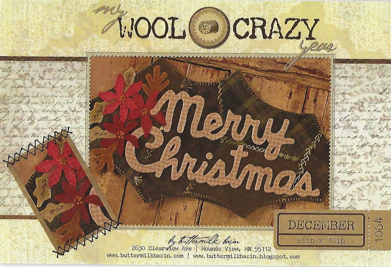 Merry Christmas Wool Applique Table Mat Pattern, Buttermilk Basin - Fabrics N Quilts