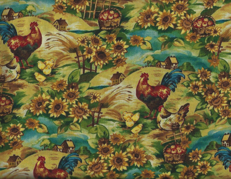 On the Farm, Chickens, Sunflower J7024-329 Brooke - Fabrics N Quilts