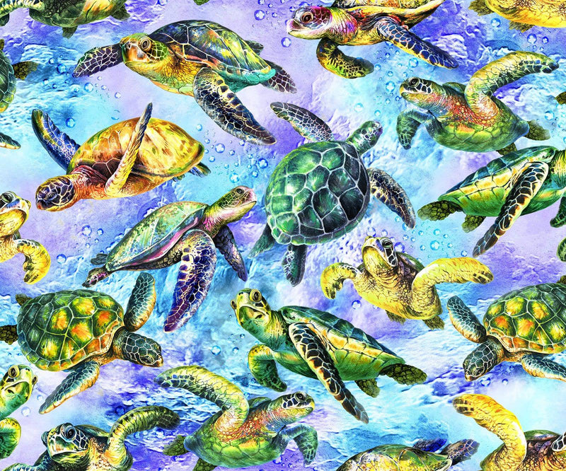 The Reef 59-3852 Light Blue Turtles - Fabrics N Quilts
