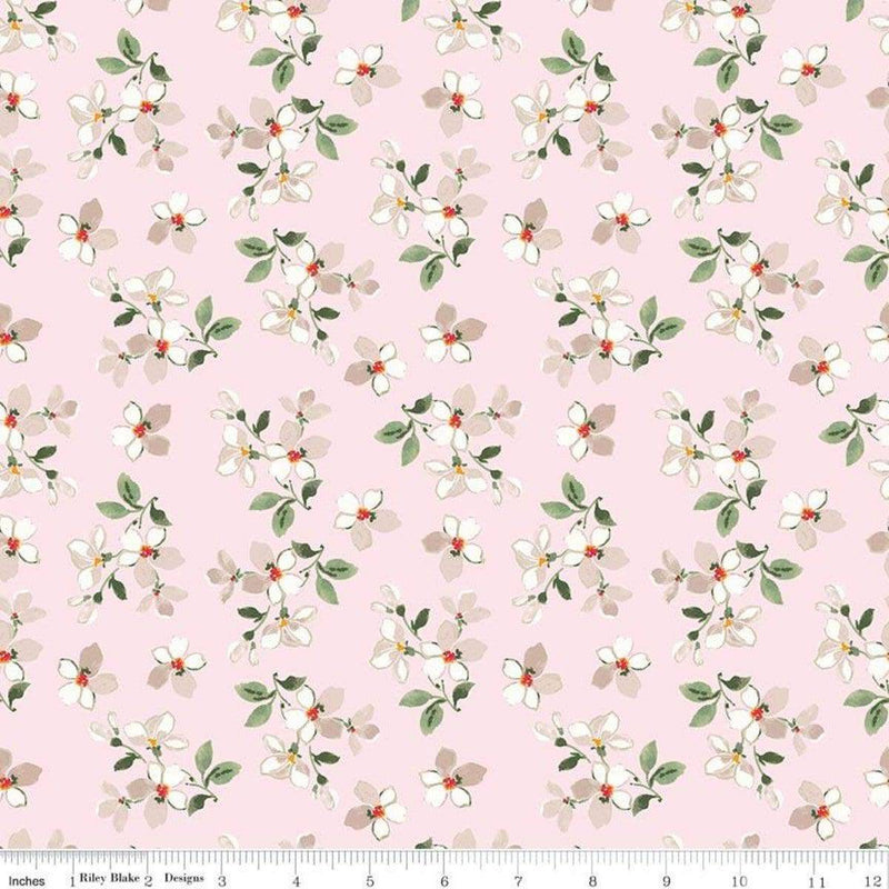Farmhouse Floral, Dogwood Flower C6884 Pink - Fabrics N Quilts
