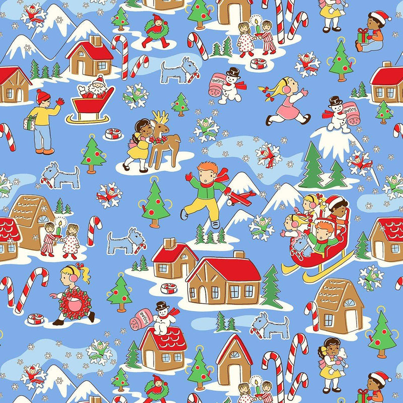Candy Cane Lane Blue Gingerbread House 51252-2 - Fabrics N Quilts