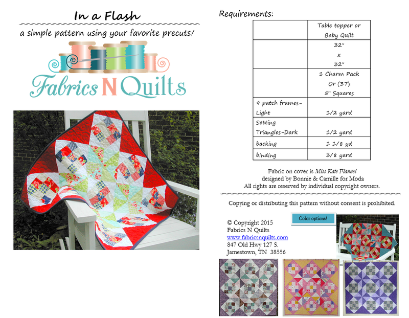 In a Flash Charm Pack Baby Quilt - Table Topper Pattern - Fabrics N Quilts