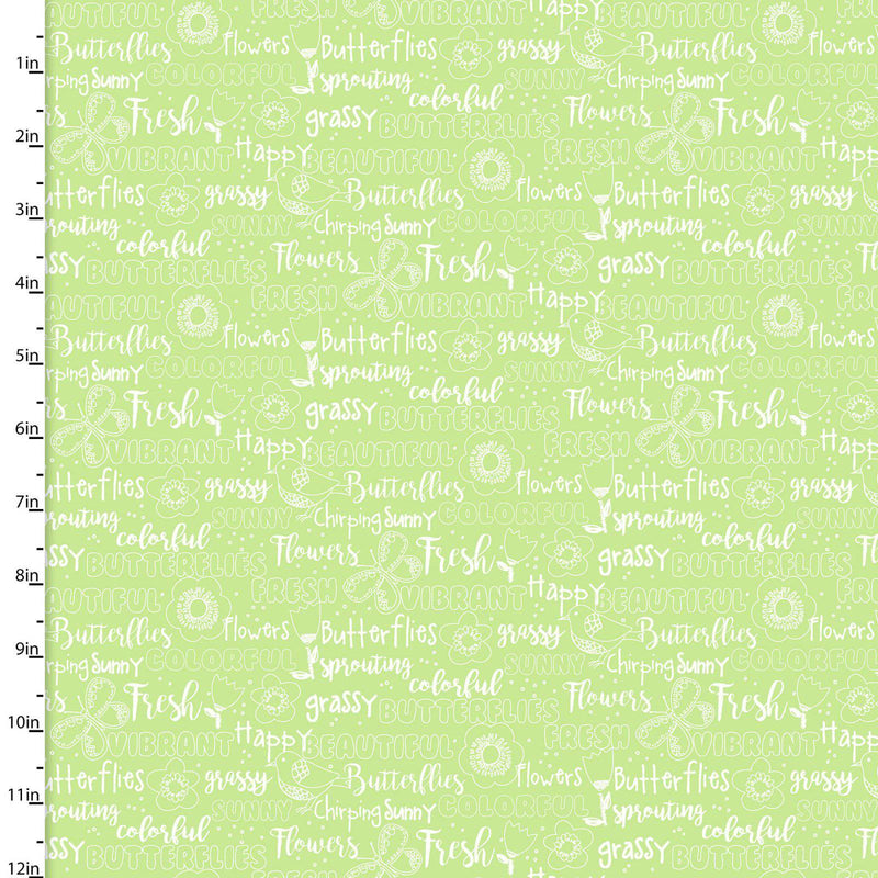 Hello Spring 15973-Green Garden Text - Fabrics N Quilts
