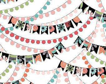 Piece of Cake Bunting Banner 26671-Z White  -  3 1/8 yd - Fabrics N Quilts