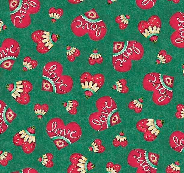 Love Grows Here Green Hearts 26300-G - Fabrics N Quilts