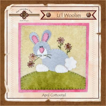 Lil Woolies Easter Bunny - April, Wool Appliqué Pattern Wooden Bear - Fabrics N Quilts