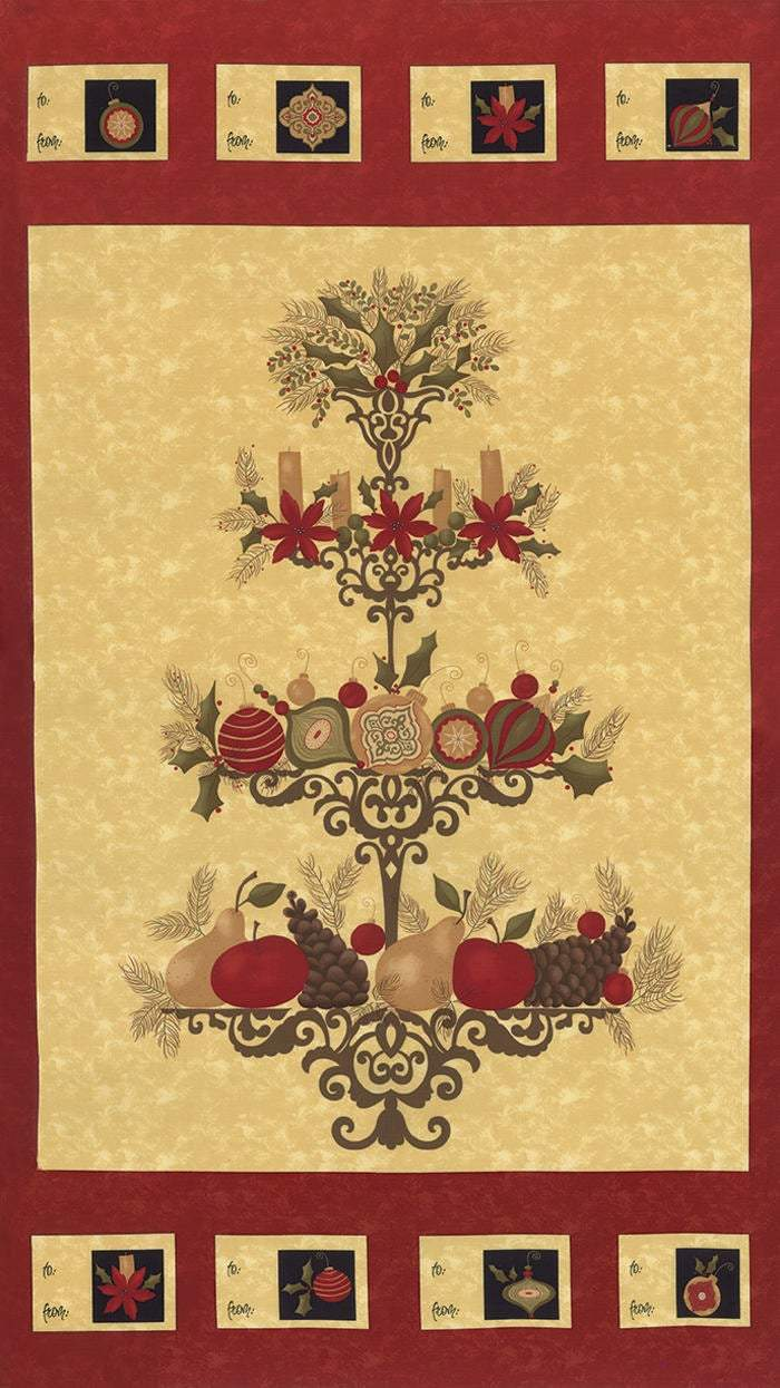 Pine Fresh Moda Fabric Christmas Panel, Red - Fabrics N Quilts