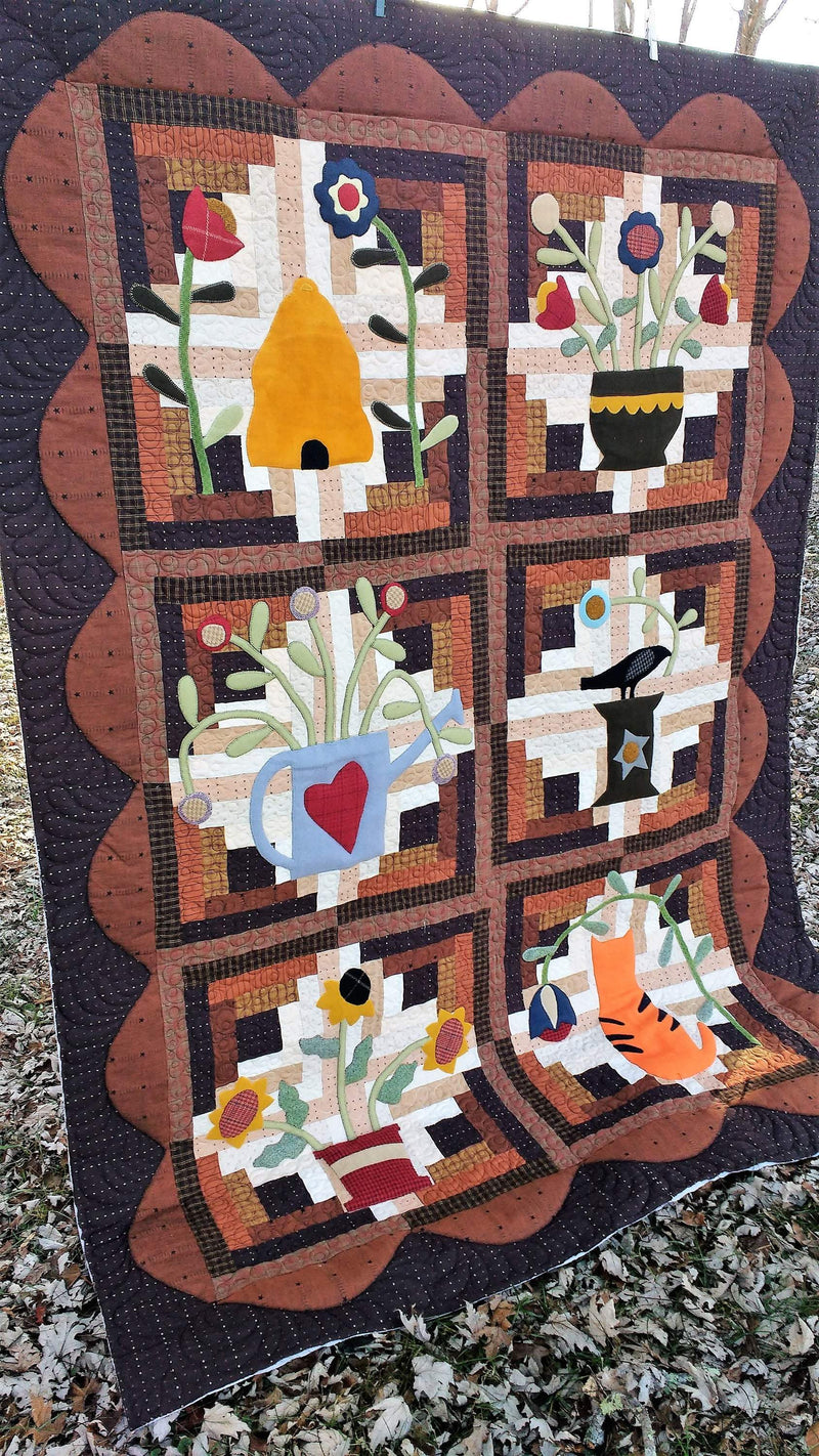 Log Cabin Garden, Wool Applique, Homespun Lap Quilt Kit - Fabrics N Quilts