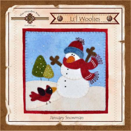 Lil Woolies, Snowman - January Wool Applique Pattern, Wooden Bear - Fabrics N Quilts
