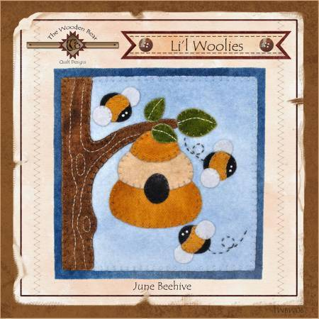 Lil Woolies Beehive Bee - June Wool Applique Pattern Wooden Bear - Fabrics N Quilts