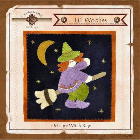 Lil Woolies Witch Halloween- October, Wool Appliqué Pattern Wooden Bear - Fabrics N Quilts