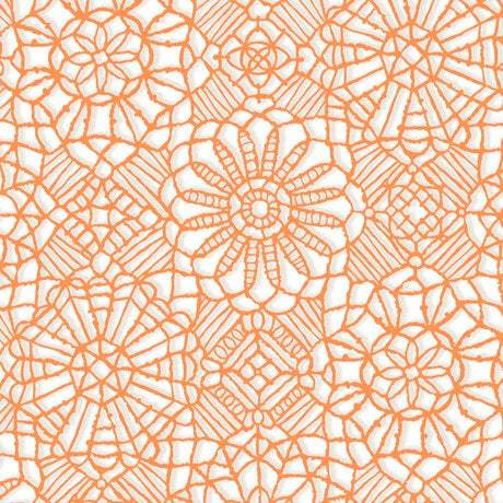 Amazing Lace, Orange Melon, White 24632-ZO - Fabrics N Quilts