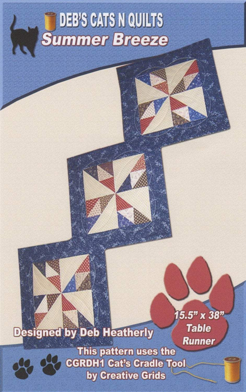 Summer Breeze Table Runner Quilt Pattern, Deb's Cats N Quilts - Fabrics N Quilts