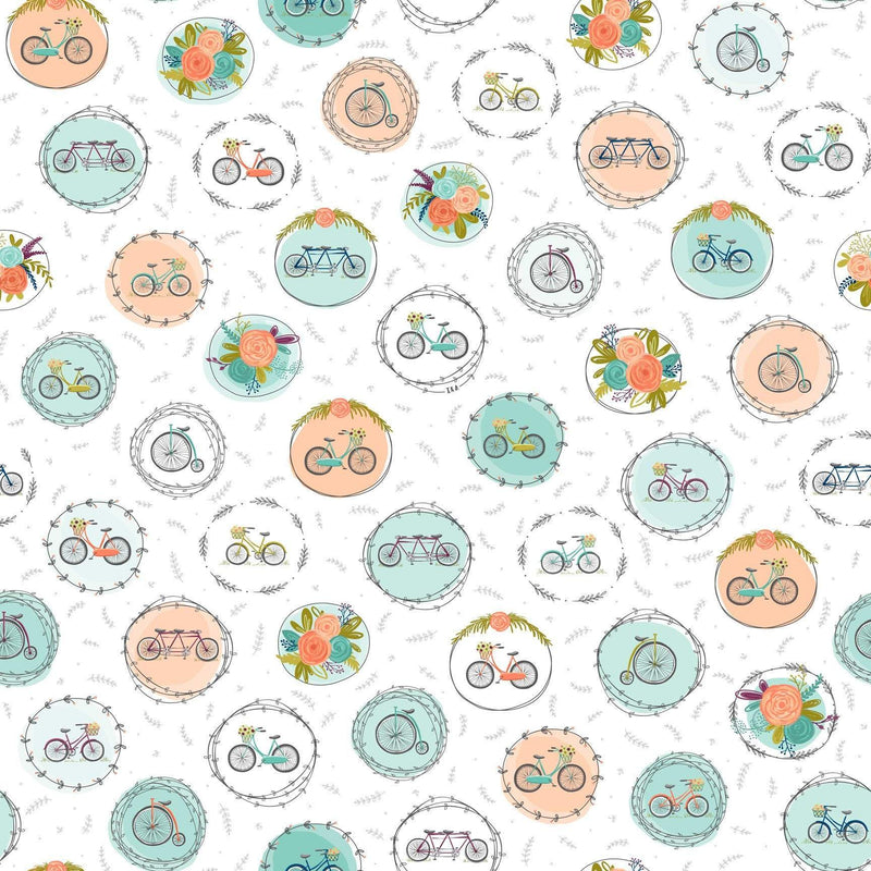 Scenic Route, White Bike and Floral Medallions 26917-Z - Fabrics N Quilts