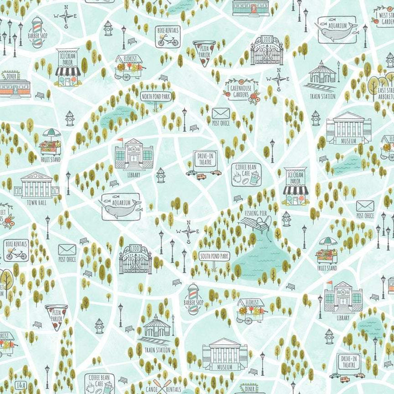 Scenic Route, Aqua Bike Path 26919-Q - Fabrics N Quilts