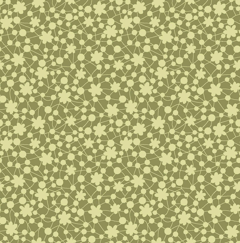 Secret Garden, Tiny Floral Sage Green Calico 60-23603 - Fabrics N Quilts