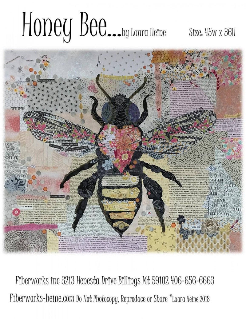 Honey Bee Collage Quilt Pattern, Laura Heine Fiberworks - Fabrics N Quilts