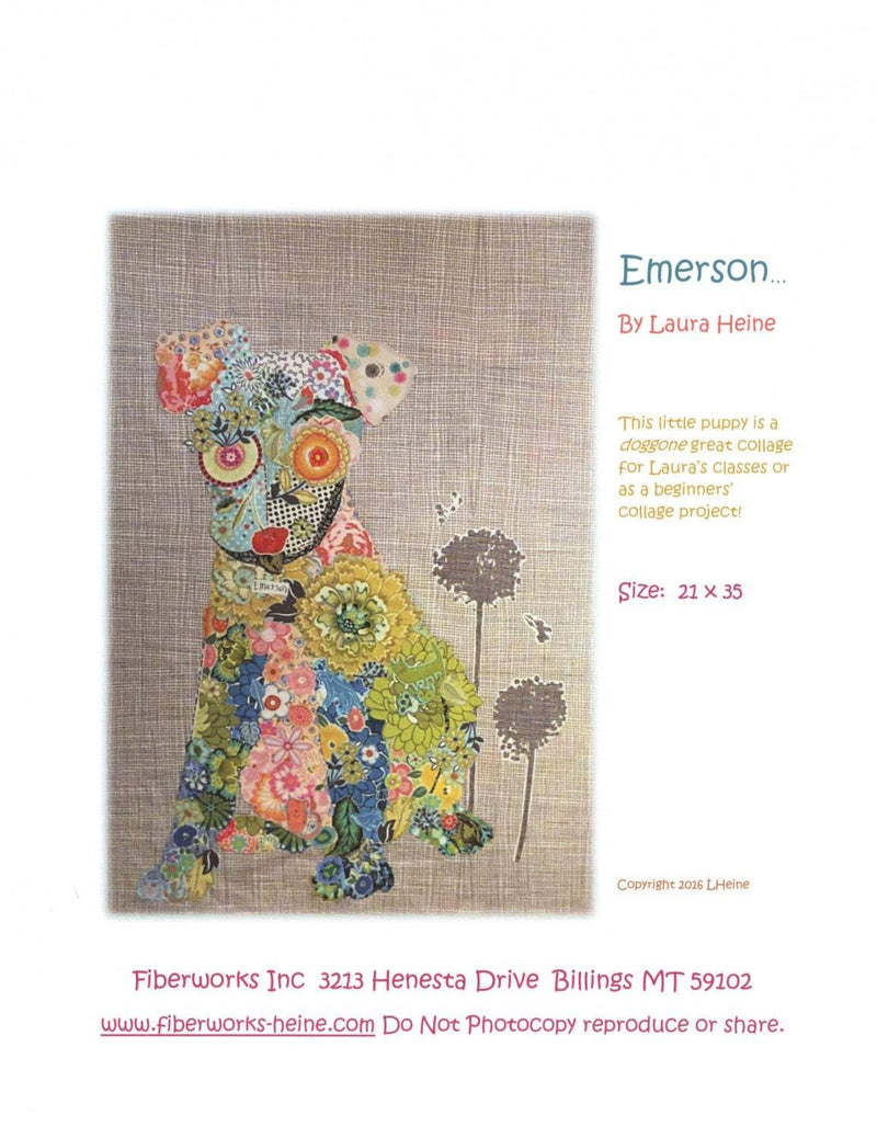 Emerson the Little Puppy Collage Quilt Pattern, Laura Heine Fiberworks - Fabrics N Quilts