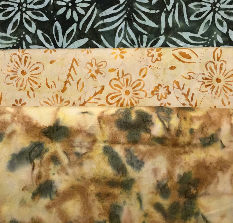 3 yard quilt kit bundle - Green Palomino Batik