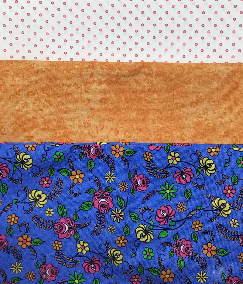 3 yard quilt kit bundle - Dk Blue Floral