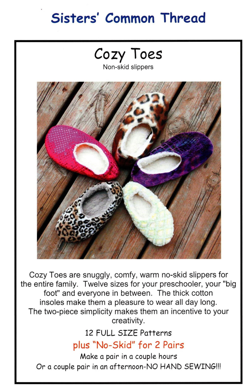 Cozy Toes, Non-skid Slipper Pattern - Fabrics N Quilts