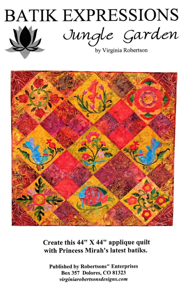 Jungle Garden, Batik Applique Quilt Pattern, Virginia Robertson - Fabrics N Quilts