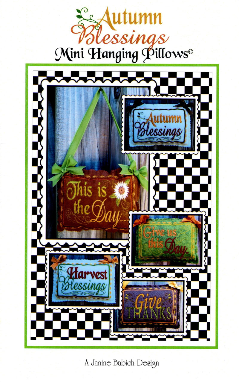 In the Hoop CD  Autumn Blessings Mini Wall Hanging Pillows - Fabrics N Quilts