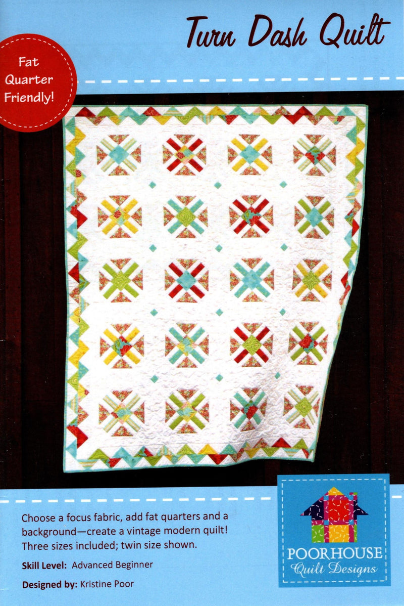 Turn Dash Quilt Pattern, Poor House Quilt Designs PQD-198 - Fabrics N Quilts