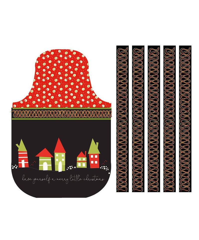Merry Little Christmas Apron Panel Black P9646R-BLACK - Fabrics N Quilts
