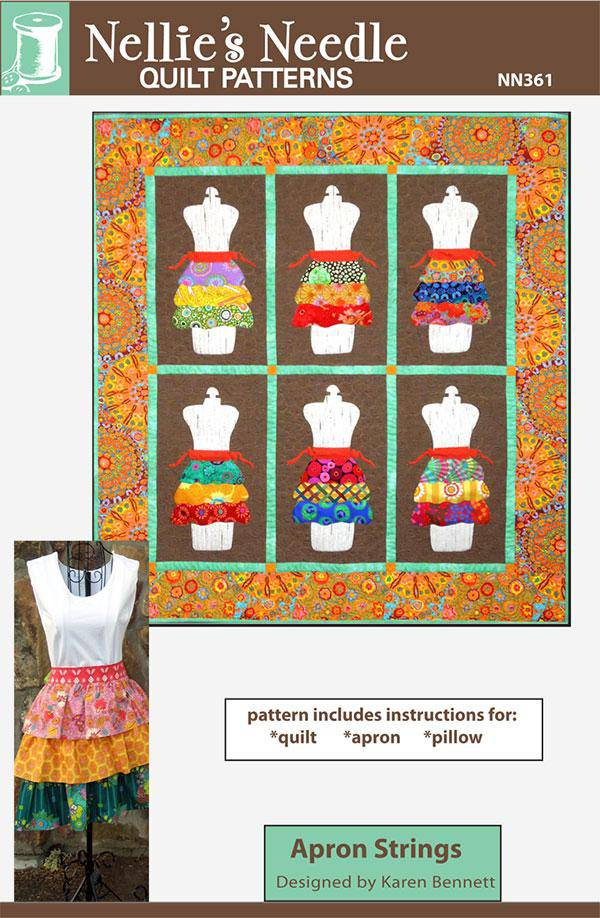 Apron Strings Apron, Pillow, Quilt Pattern, Nellies Needle - Fabrics N Quilts