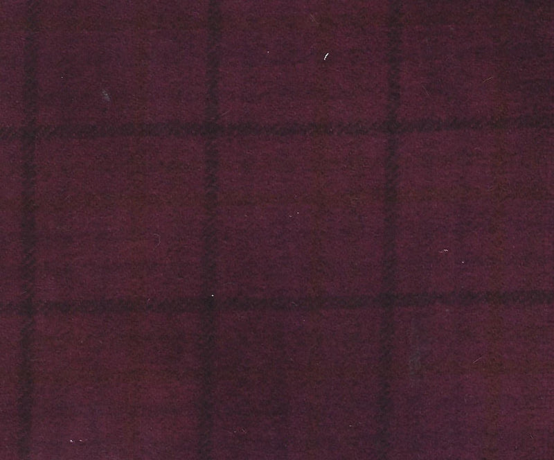 Hand Dyed Wool Fat Eighth Dusty Dark Cranberry Plaid - Fabrics N Quilts