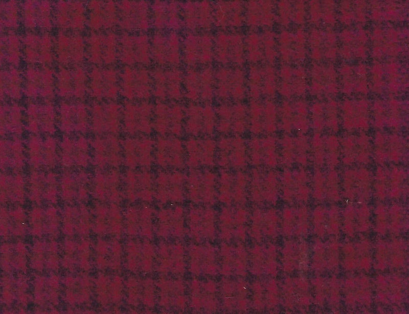 Hand Dyed Wool Fat Eighth Dark Pink Plaid - Fabrics N Quilts