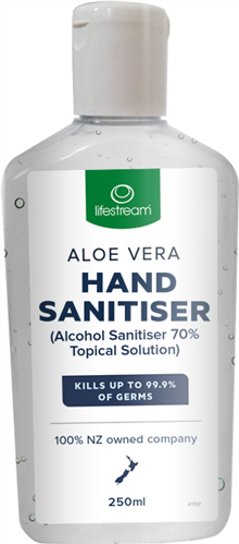 Body & Bath Care, Life Stream Hand Sanitiser with Aloe Vera 250ml