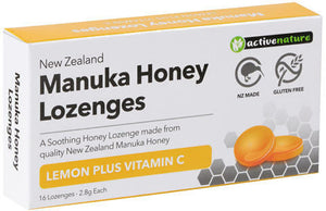 Activenature NZ Manuka Honey Lemon + Vitamin C 16 Lozenges