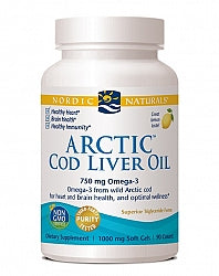 Omega Oils/Foods, Nordic Naturals Arctic Cod Liver Oil 750mg SoftGels 90 - Lemon