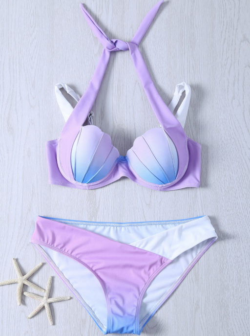 Gradient Color Mermaid Shell Bikini