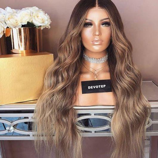 BROWN GRADATION WAVY WIG