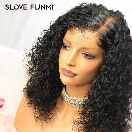 Curly Lace Front Wigs Glueless Pre Plucked Brazilian Remy Short Bob Wig