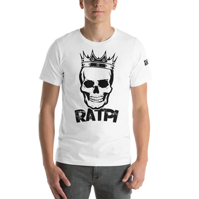 White Short-Sleeve Unisex T-Shirt with Black Ratpi Logo on the front