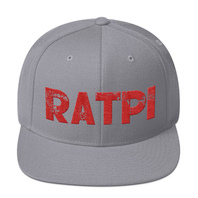 Grey Snapback Hat with Red Ratpi Writing