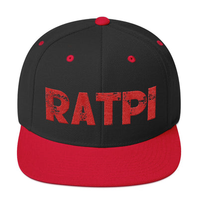 Black & Red Snapback Hat with Red Ratpi Writing