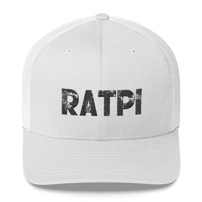 White Trucker Cap with Black Ratpi writing