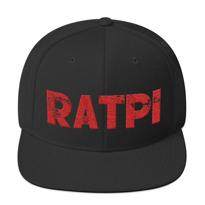 Black Snapback Hat with Red Ratpi Writing
