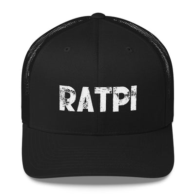 Black Trucker Cap with White Ratpi writing