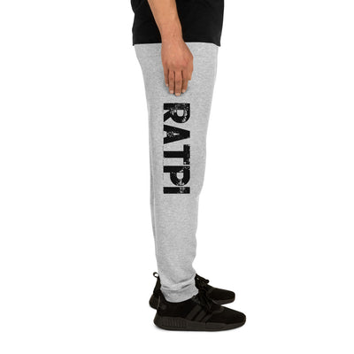 Grey Unisex Joggers with Black Ratpi Writing Printed on the sides