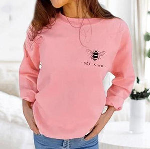 Radiez Fashion Plain Bee Kind Letter Print Long Sleeve Blouse