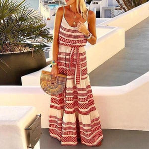 Radiez Bohemian Geometric Printed Vacation Maxi Dress