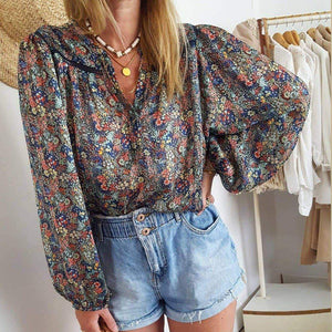 Radiez Vintage Floral V-Neck Long Sleeve Thin Blouse